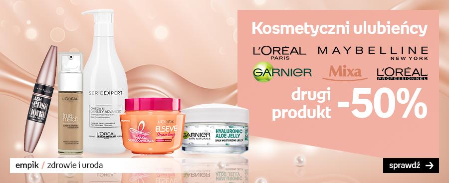 50% taniej na drugi kosmetyk L'Oreal, Garnier, Mixa, Maybelline