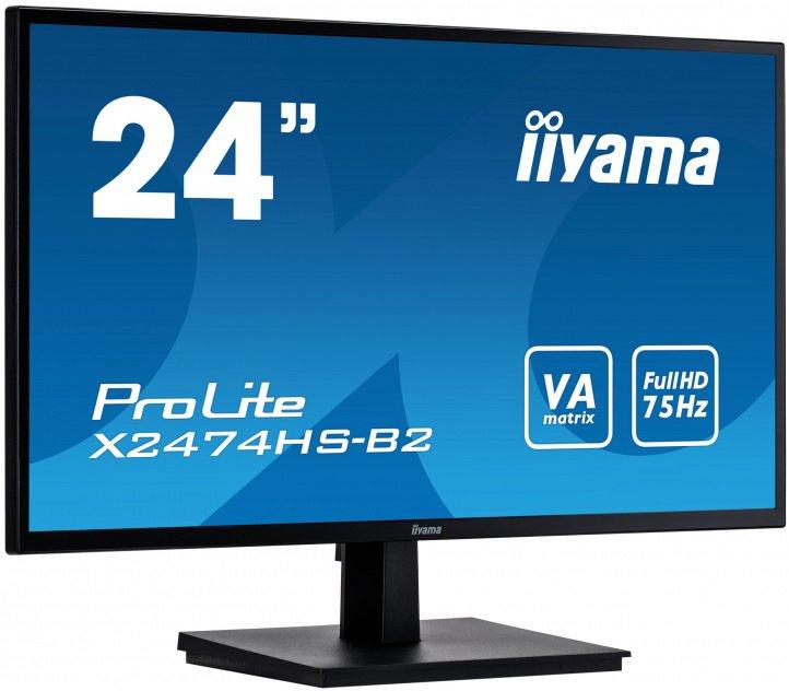 """iiyama ProLite X2474HS-B2 23.6"""" FHD VA 4ms - z gwarancją iiyama 3 lata - zero martwych pikseli 30 dni na proline"""