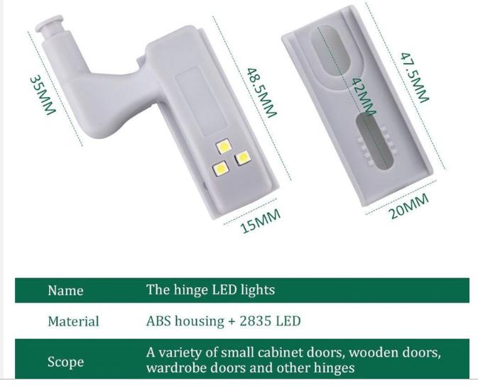 Oświetlenie szafkowe LED montowane na zawias (4,18$/10szt)