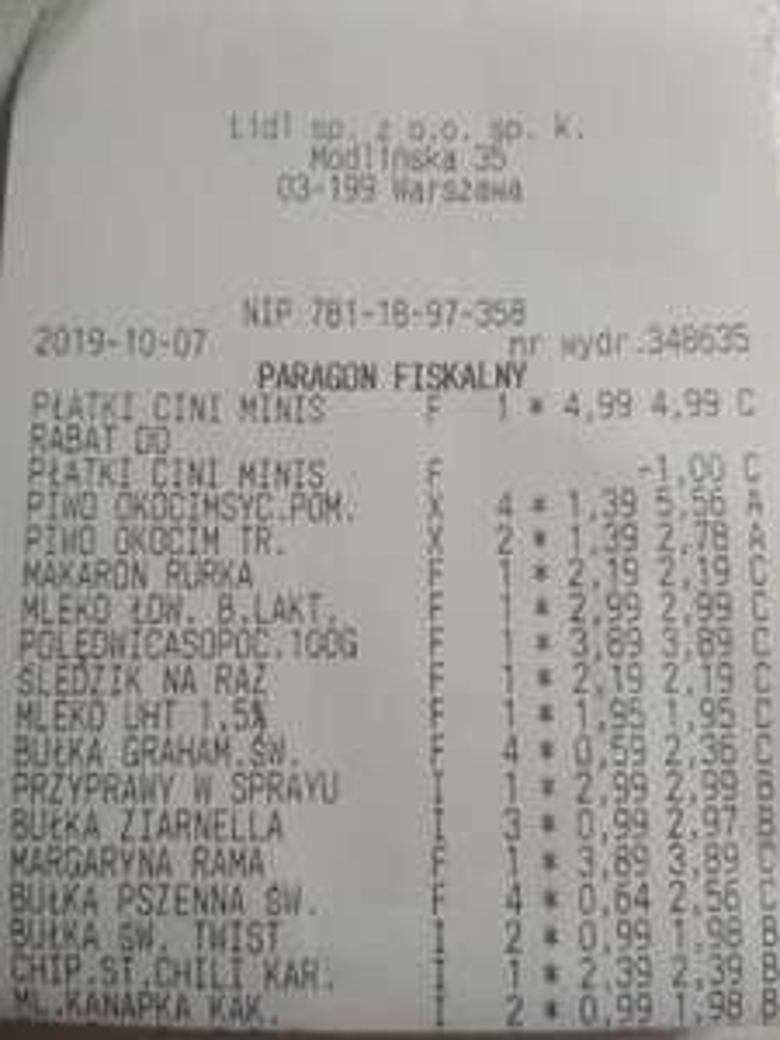 Lidl - piwo radler Okocim 1.39zl