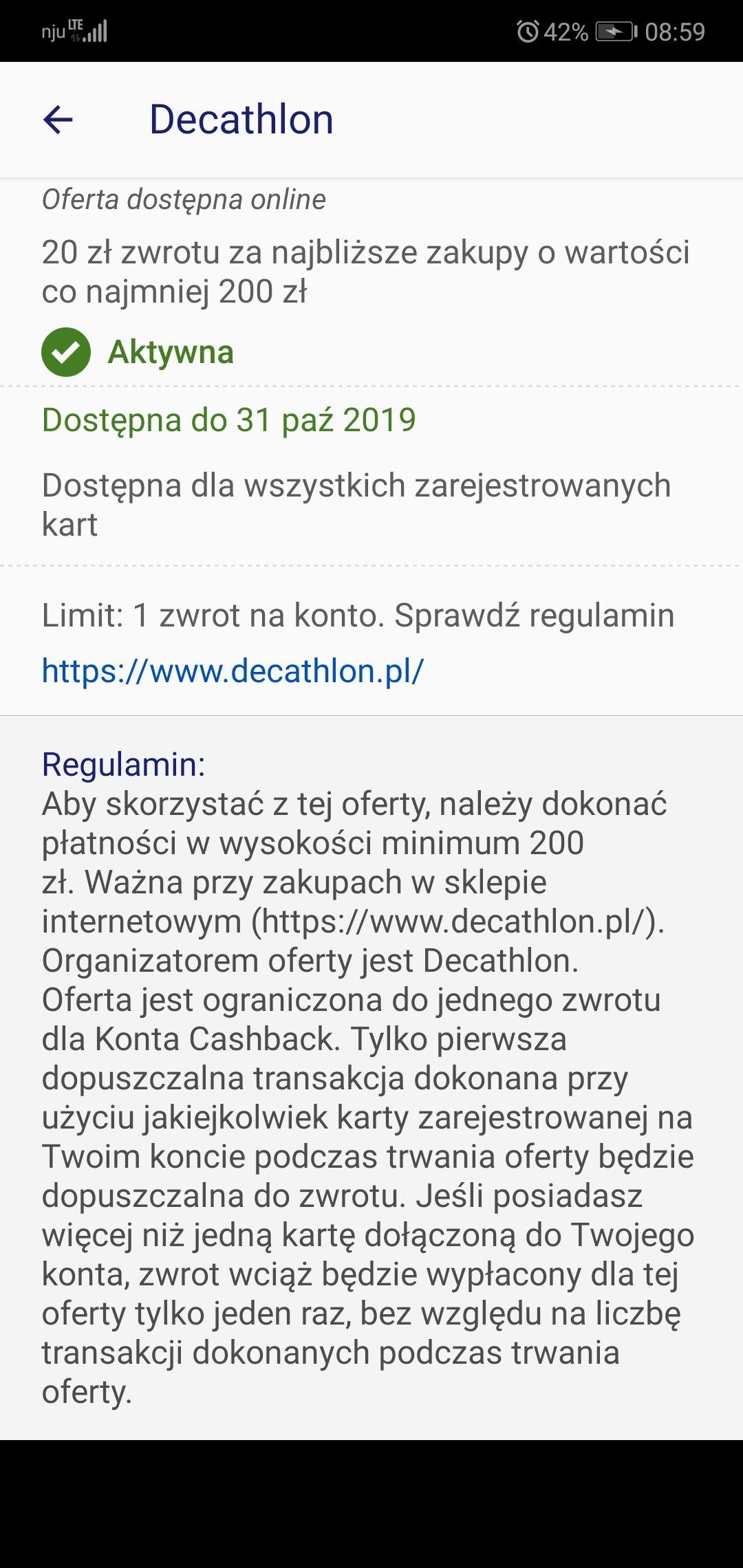 Decathlon - Zwrot 20PLN za wydane 200PLN, online - visa oferty