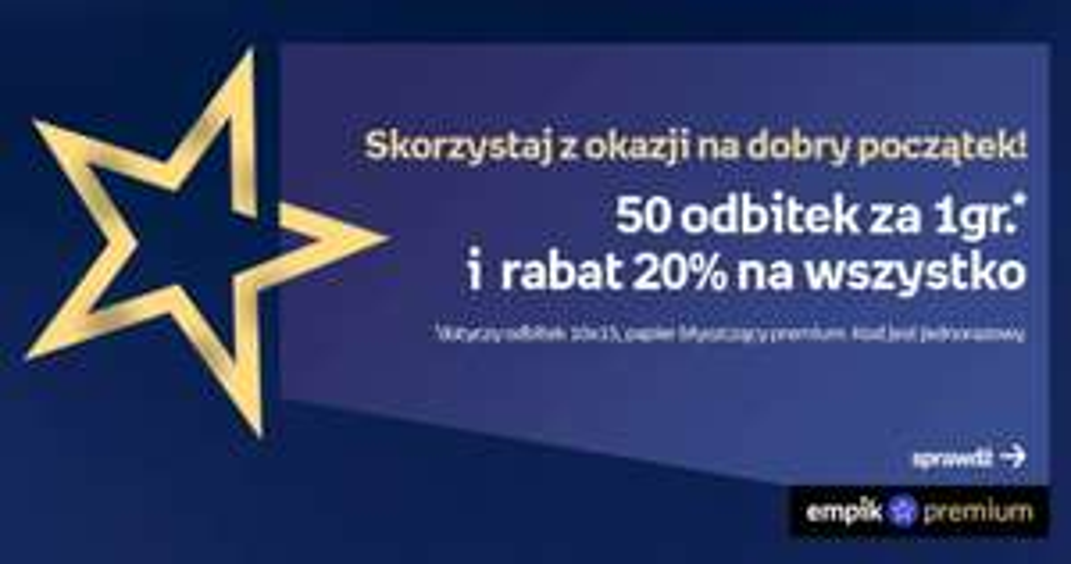 50 odbitek 10x15 premium po 0.21 PLN (wliczając koszt abonamentu na 1 mies.) lub 0.01 dla posiadaczy abonamentu + dostęp do empik go