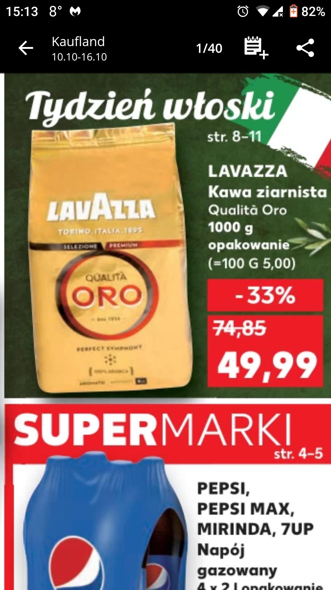 Lavazza kawa ziarnista Qualita Oro 1000 g @Kaufland 49,99 zł