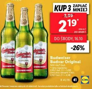 Piwo Budweiser Budvar Original 500 ml przy zakup. 3 sztuk @Lidl