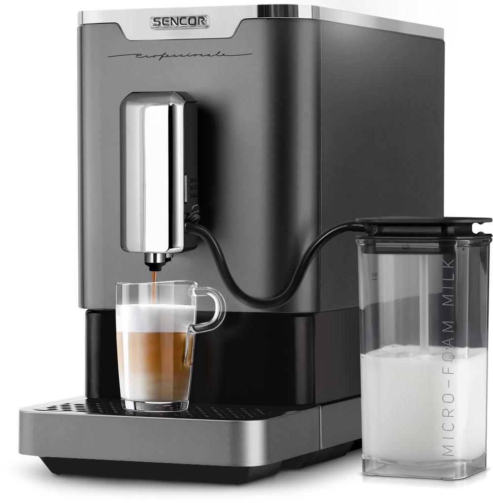 Ekspres ciśnieniowy do kawy Sencor SES 9010CH, 19bar, młynek stalowy żarnowy, 1470W, podświetlenie filiżanek