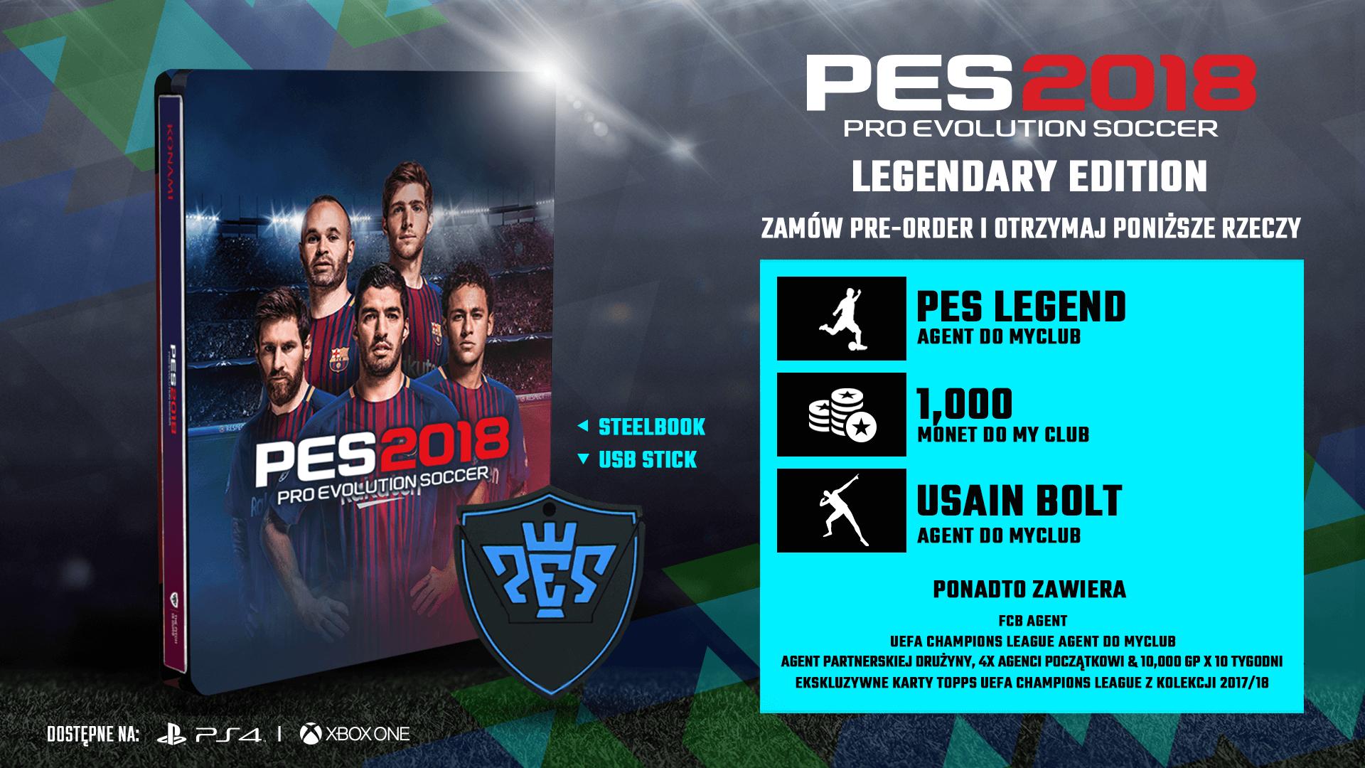 PES 2018 Legendary Edition Steelbook + nakładki na pada