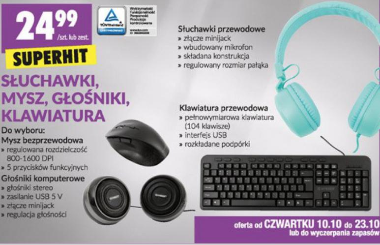 Sprzęt Hykker (mysz, głośniki, klawiatura, słuchawki) @Biedronka