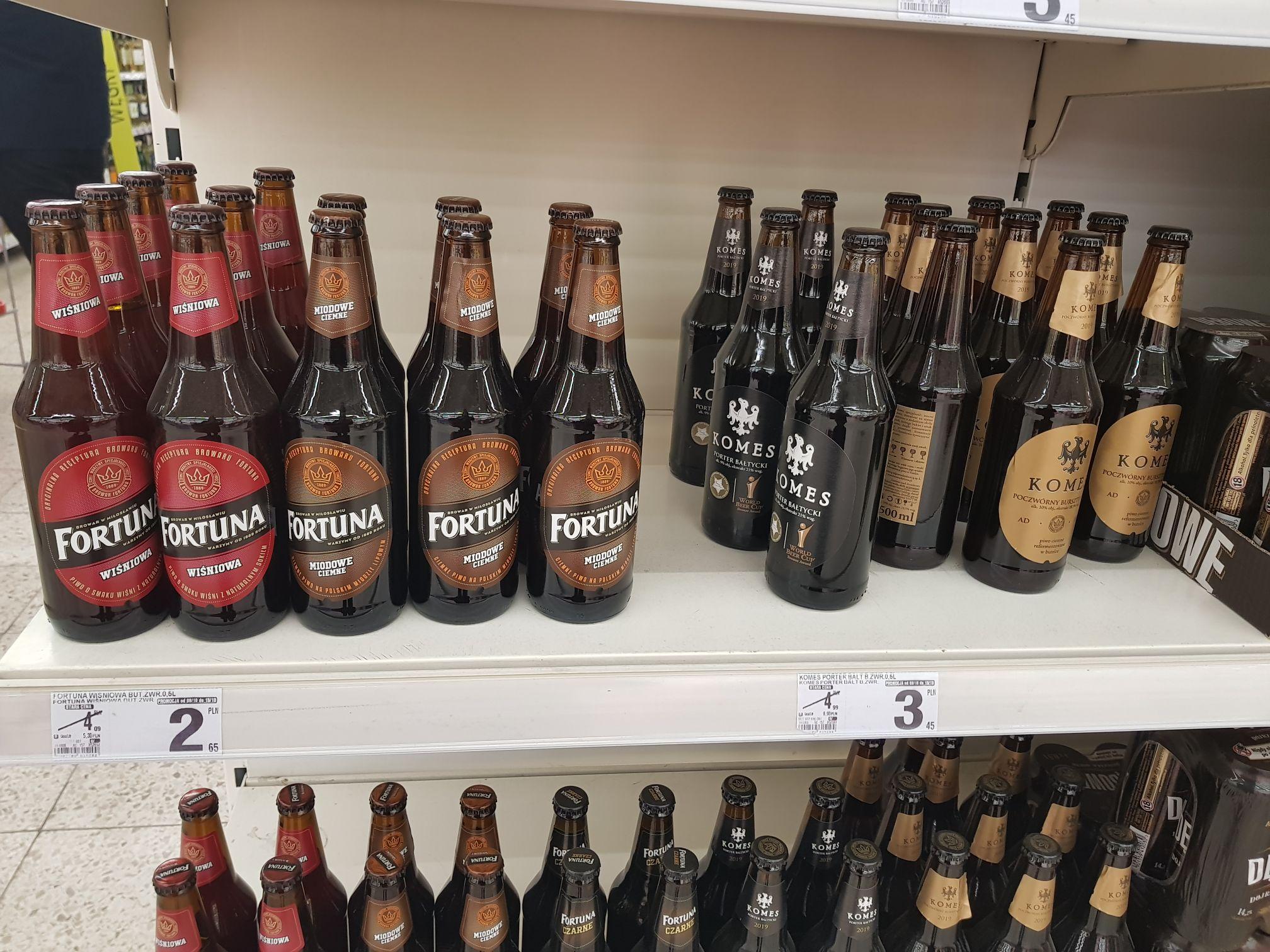 B1 Czeladź: Piwo Komes: porter bałtycki, potrójny złoty, poczwórny bursztynowy i piwo Fortuna: czarne, miodowe ciemne, wiśniowa
