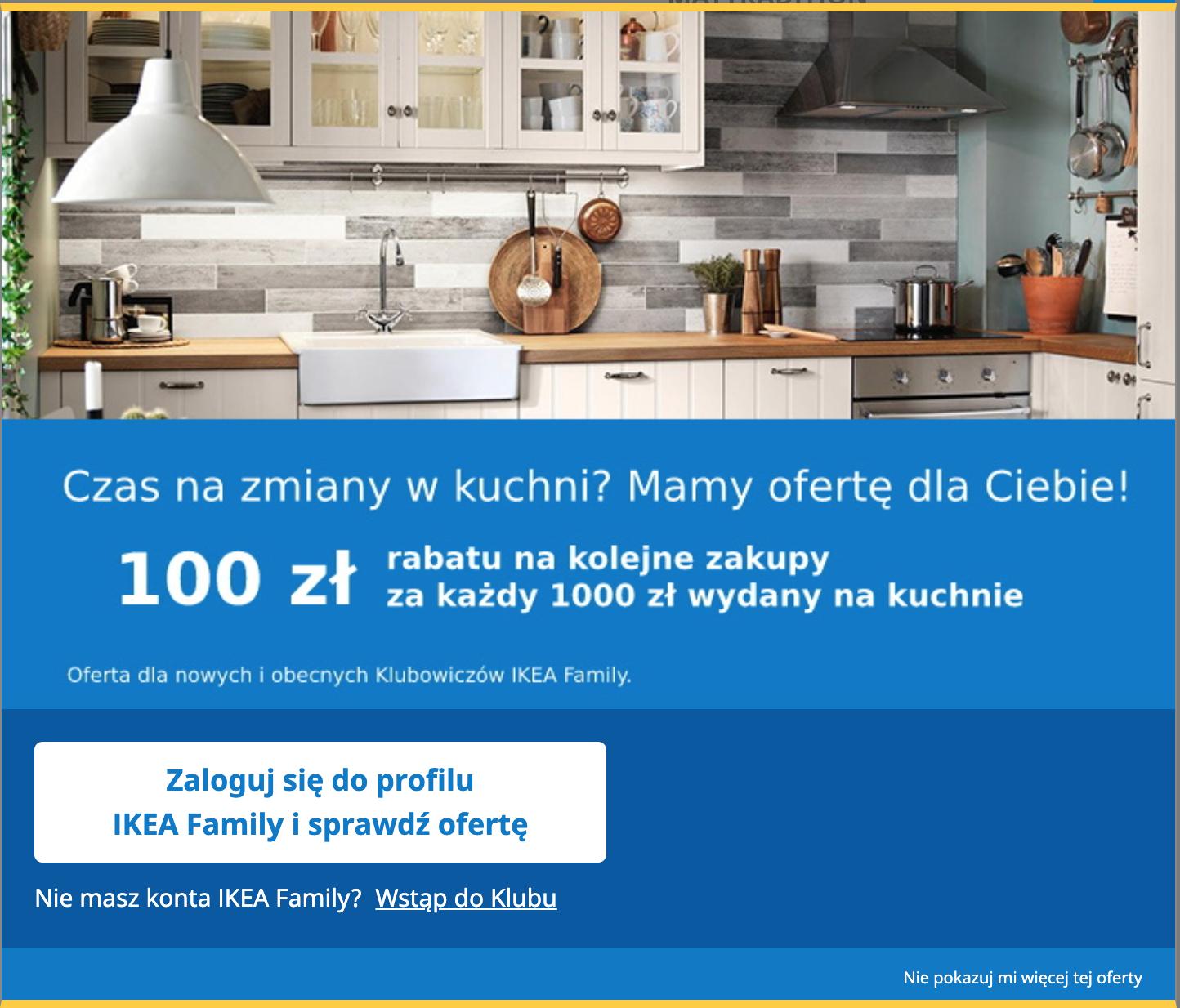 Ikea 100 zł rabatu na kolejne zakupy za każdy 1000 zł wydany na kuchnie