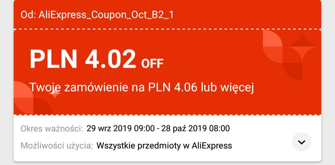 Aliexpress październikowy kupon -4.02/4.06 PLN na wszystko
