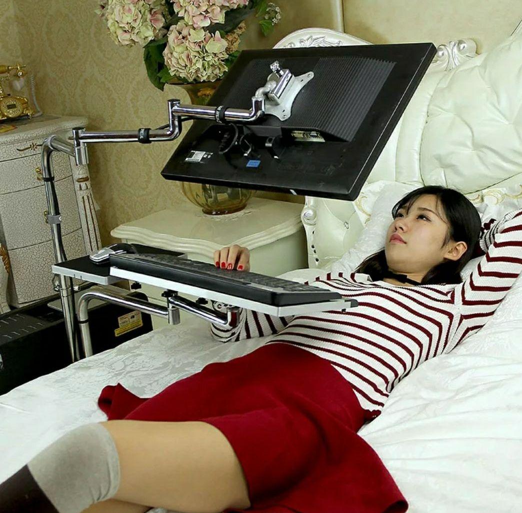 Stojak nad łóżko na laptop komputer stolik ramię wysięgnik łóżkowy