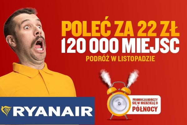 Loty Ryanair w Listopadzie: 22 zł, Gdańsk, Kraków, Szwecja, Norwegia