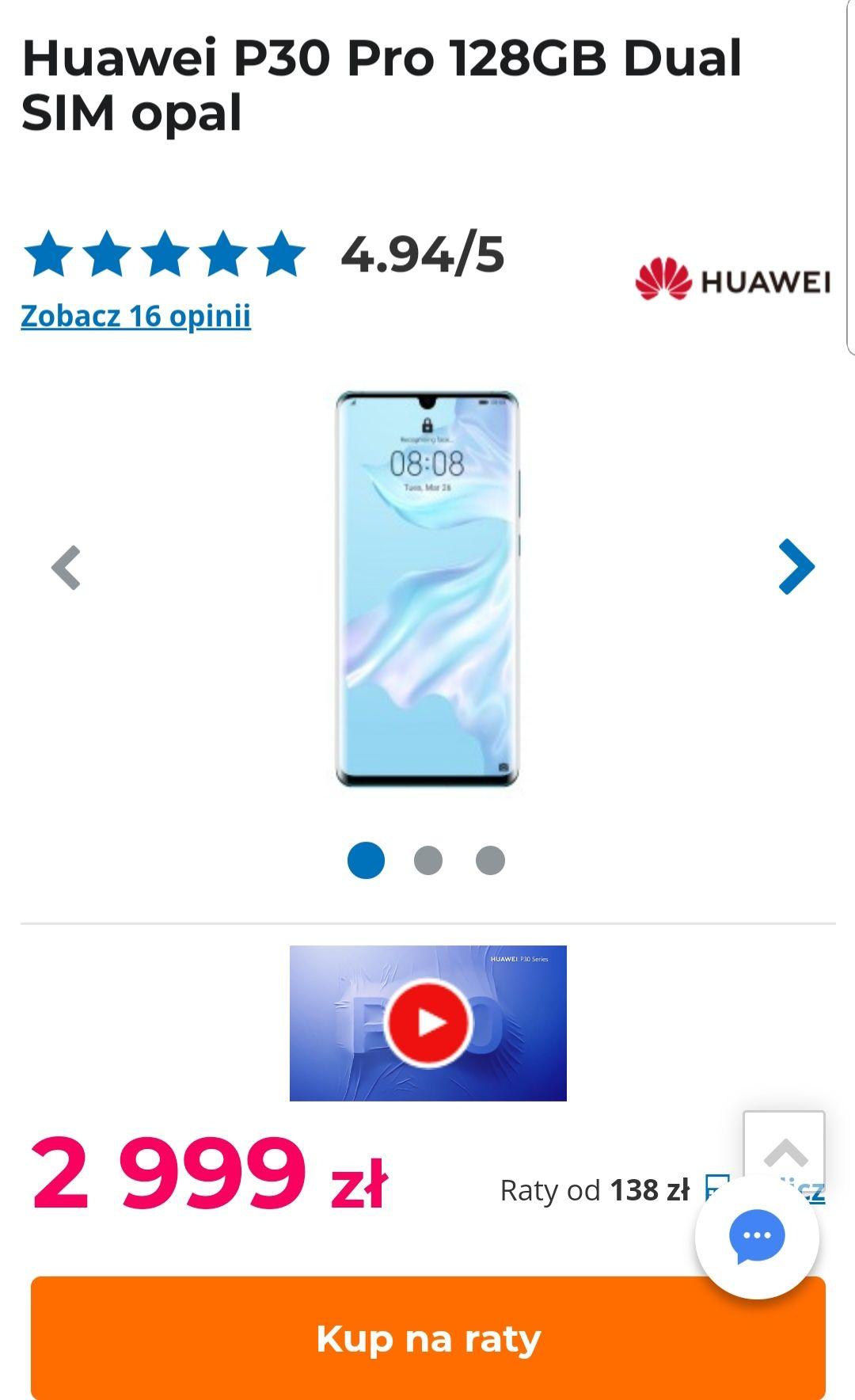Huawei P30 Pro 128GB opal. Możliwe 2500, czytaj opis.