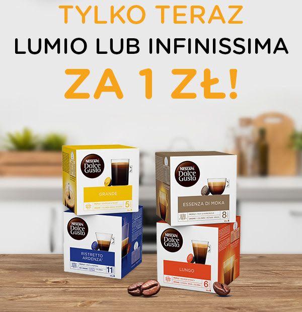 Ekspres Dolce Gusto za 1 zł przy zakupie 20 / 26 opakowań kawy ( Infinissima i Lumio )