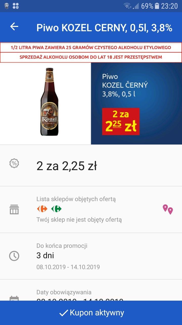 Piwo Czarny Kozel W Carrefour Express 2x0,5l za 2,25 (1,12/szt) z aplikacją