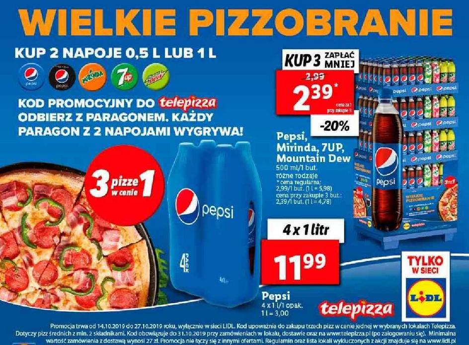 Wielkie pizzobranie TelePizza - 3 w cenie 1 - za zakup 2 napojów 0,5L lub 1L: Pepsi, Mirinda, 7Up, Mountain Dew @ Lidl