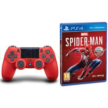 Czerwony pad Playstation 4 + Spider Man