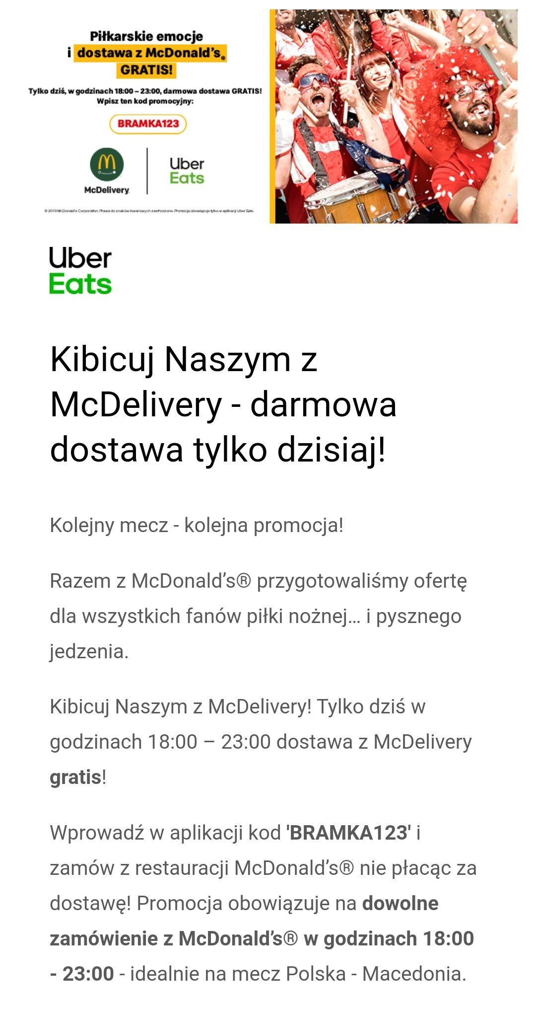 Darmowa dostawa z McDonald's w Uber Eats tylko dzisiaj