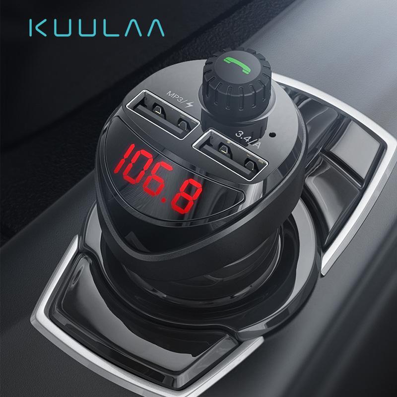 KUULAA Transmiter FM z dwoma portami do ładowania USB