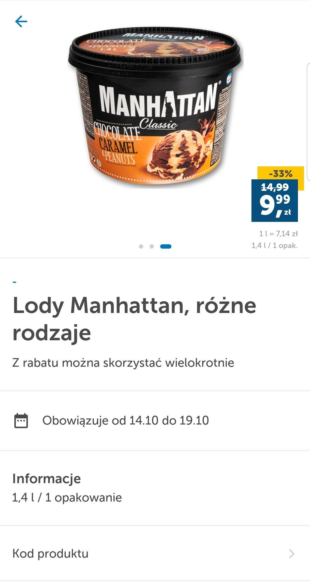 Lody Manhattan 1.4 litra. Lidl Plus
