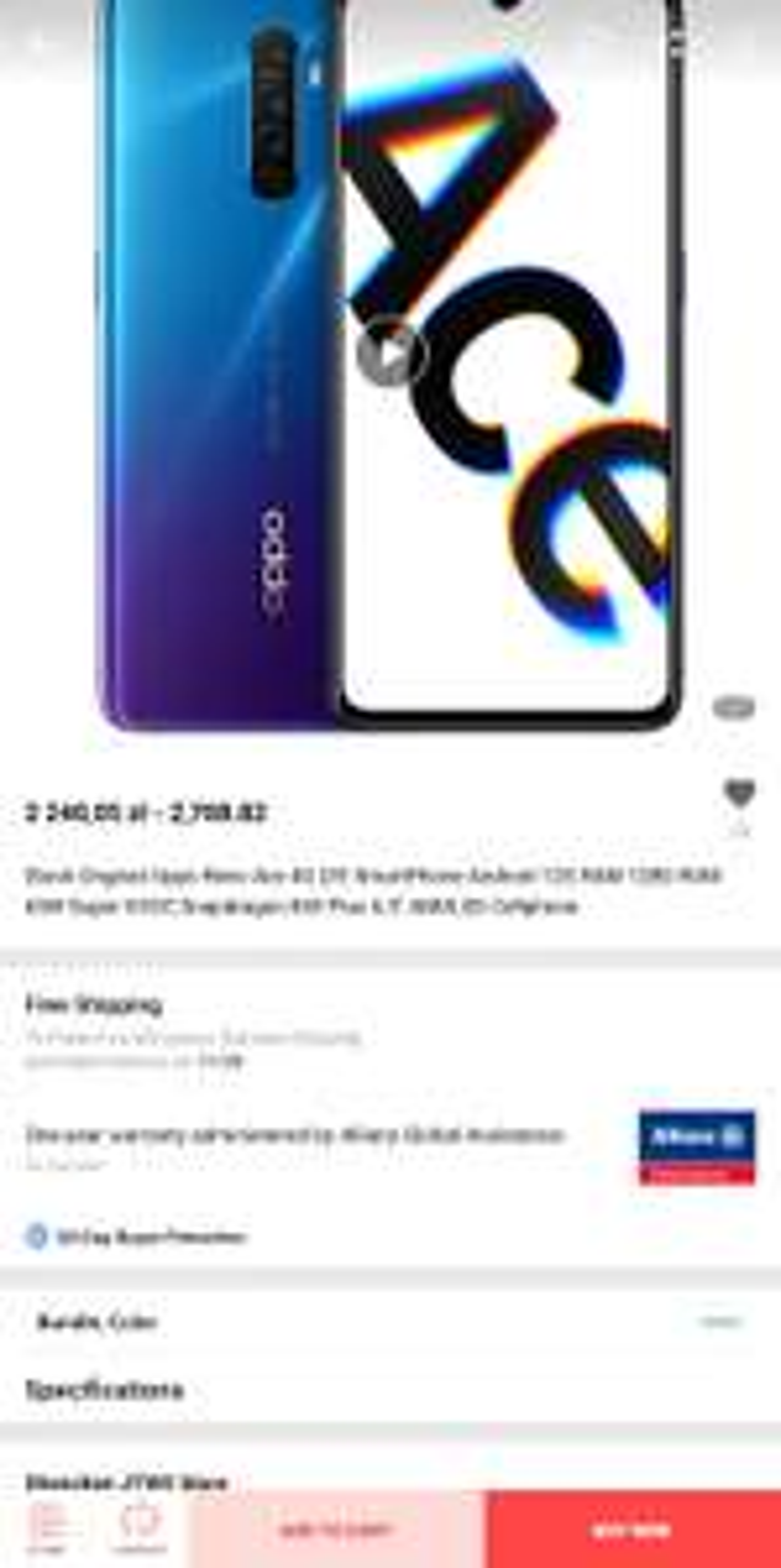 Smartfon Oppo Reno Ace 8/128 (Snapdragon 855+, 90Hz AMOLED, 4000mAh)