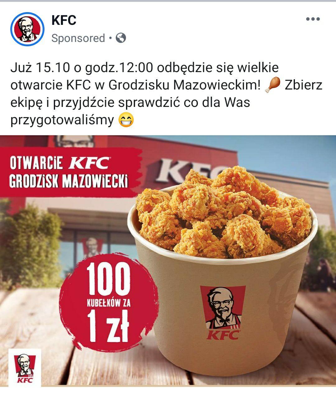 100 kubełków KFC za 1zł! GRODZISK MAZOWIECKI