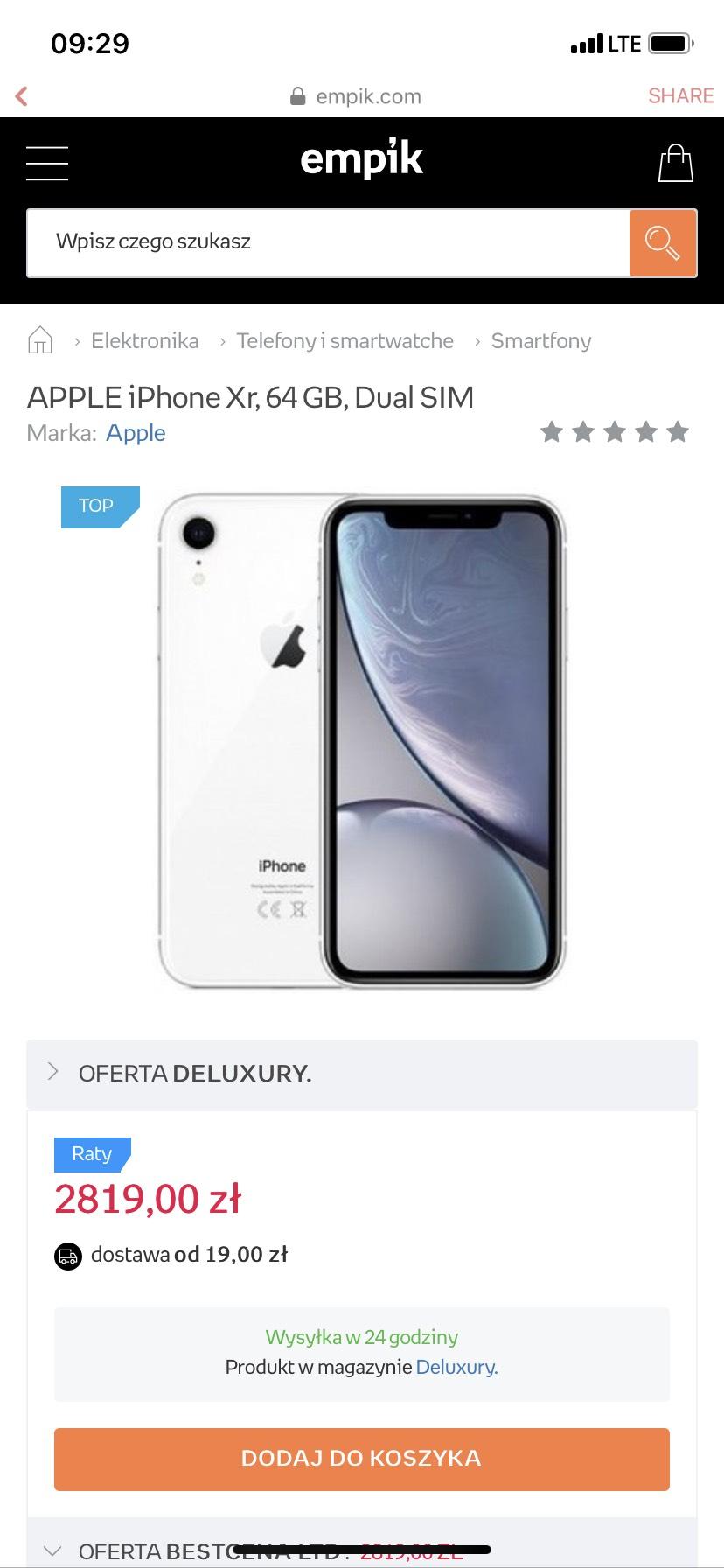 iPhone XR 64 GB biały