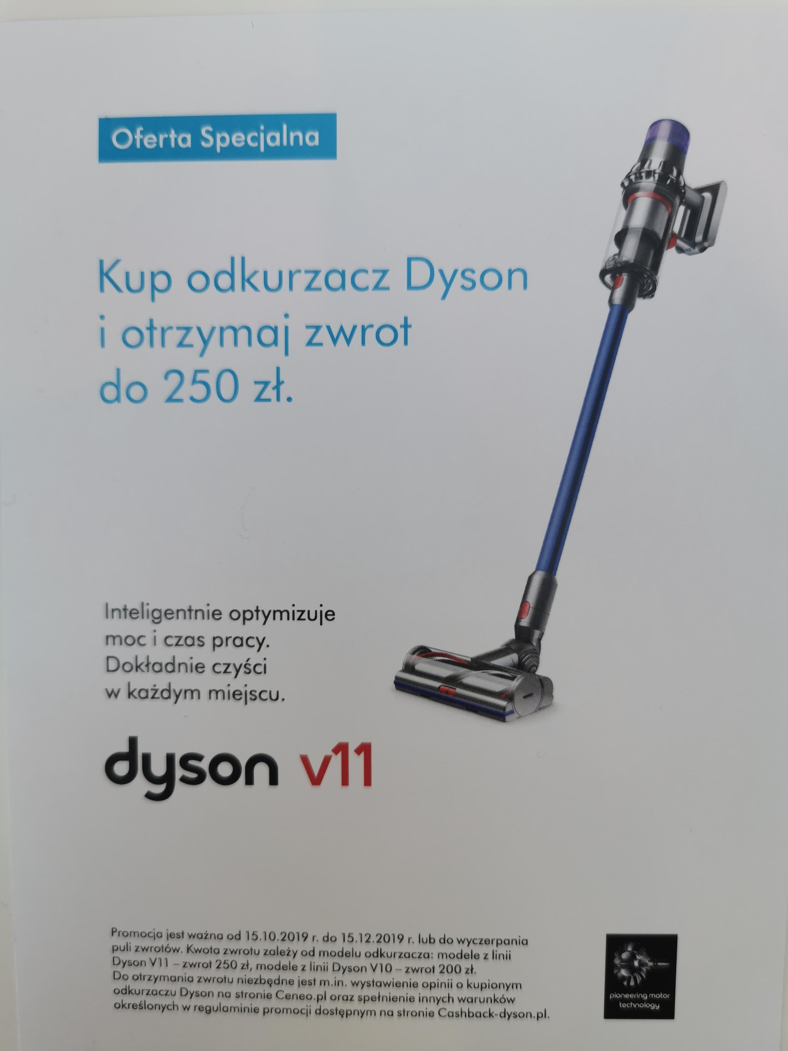 Kup odkurzacz Dyson i otrzymaj zwrot do 250zl