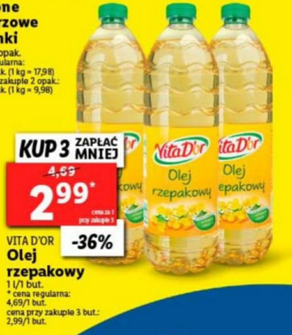 Lidl, olej rzepakowy, cena przy zakupie 3 sztuk