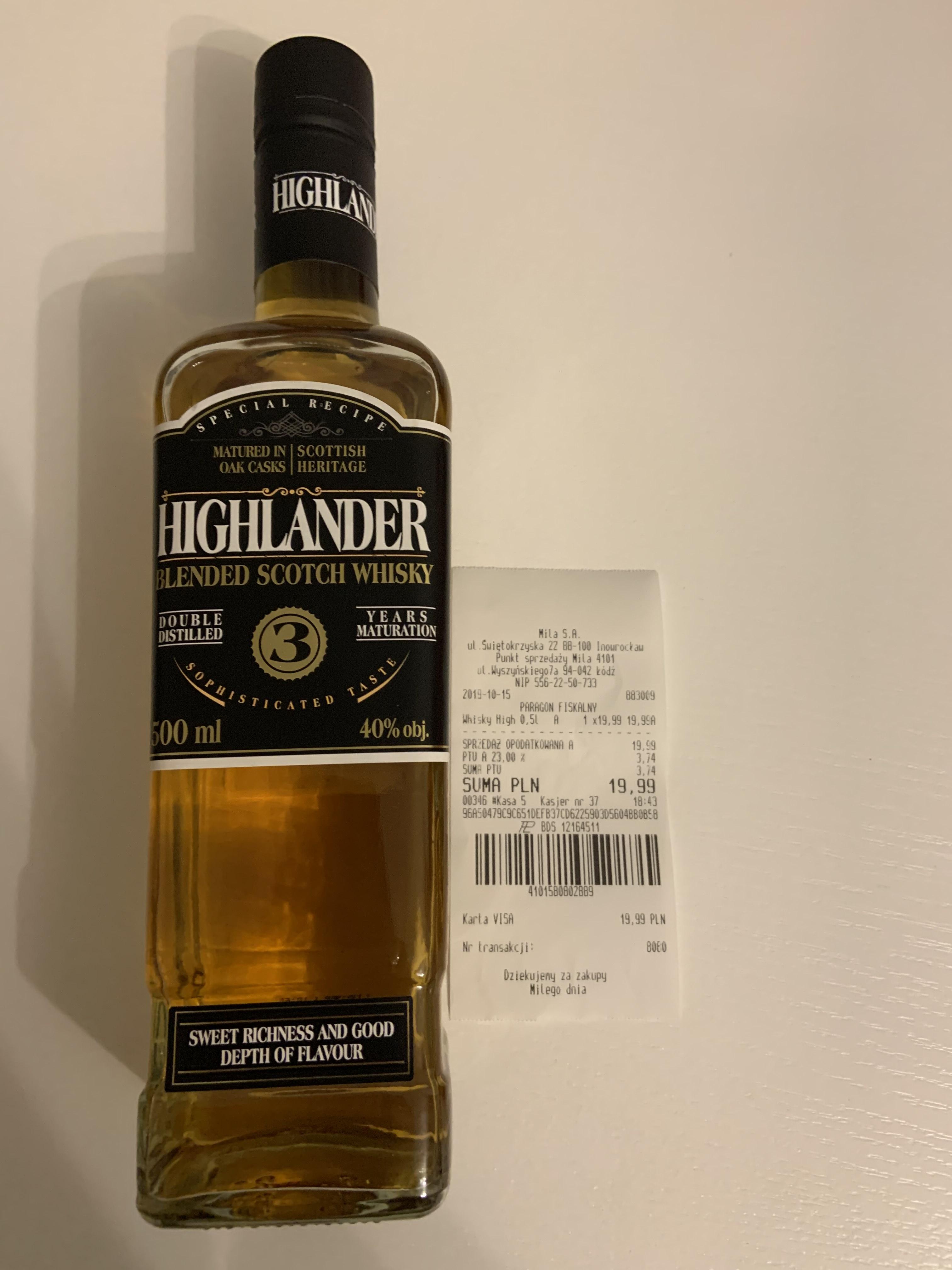 Whisky Highlander 3yo, 0,5l - Mila