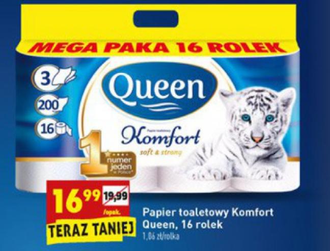 Papier toaletowy, Queen Komfort 16 rolek, Biedronka