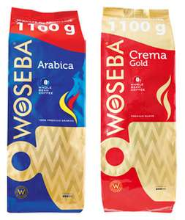 Kawa ziarnista Woseba, 1,1 kg - Arabica, Crema Gold (i inne)