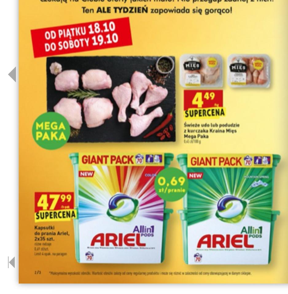 Biedronka - kapsułki do prania Ariel 2x35 szt.