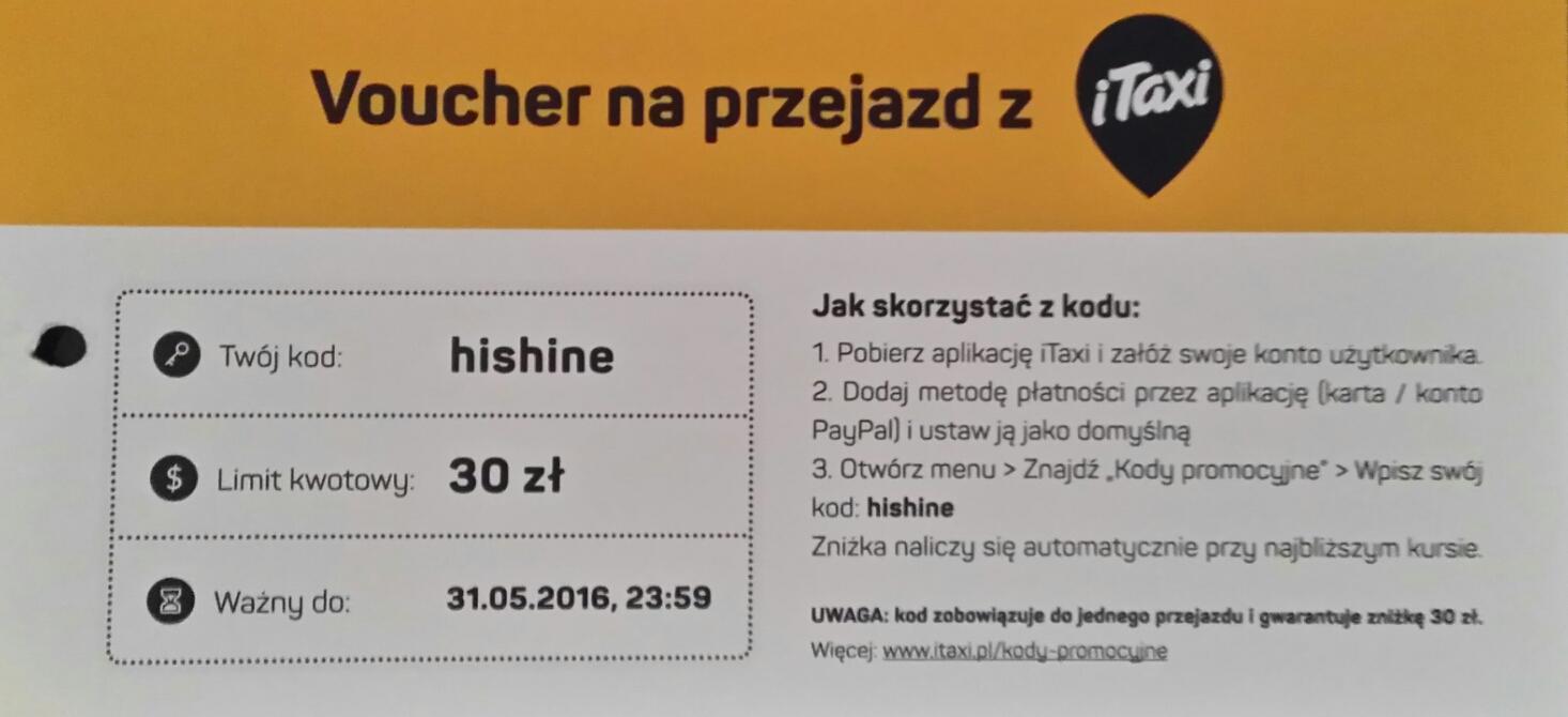 Kod 30 zł na przejazd taksówką @ iTaxi
