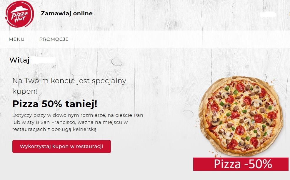 """Pizza hut na miejscu pizza 50% taniej (tylko użytkownicy """"my pizza hut"""")"""