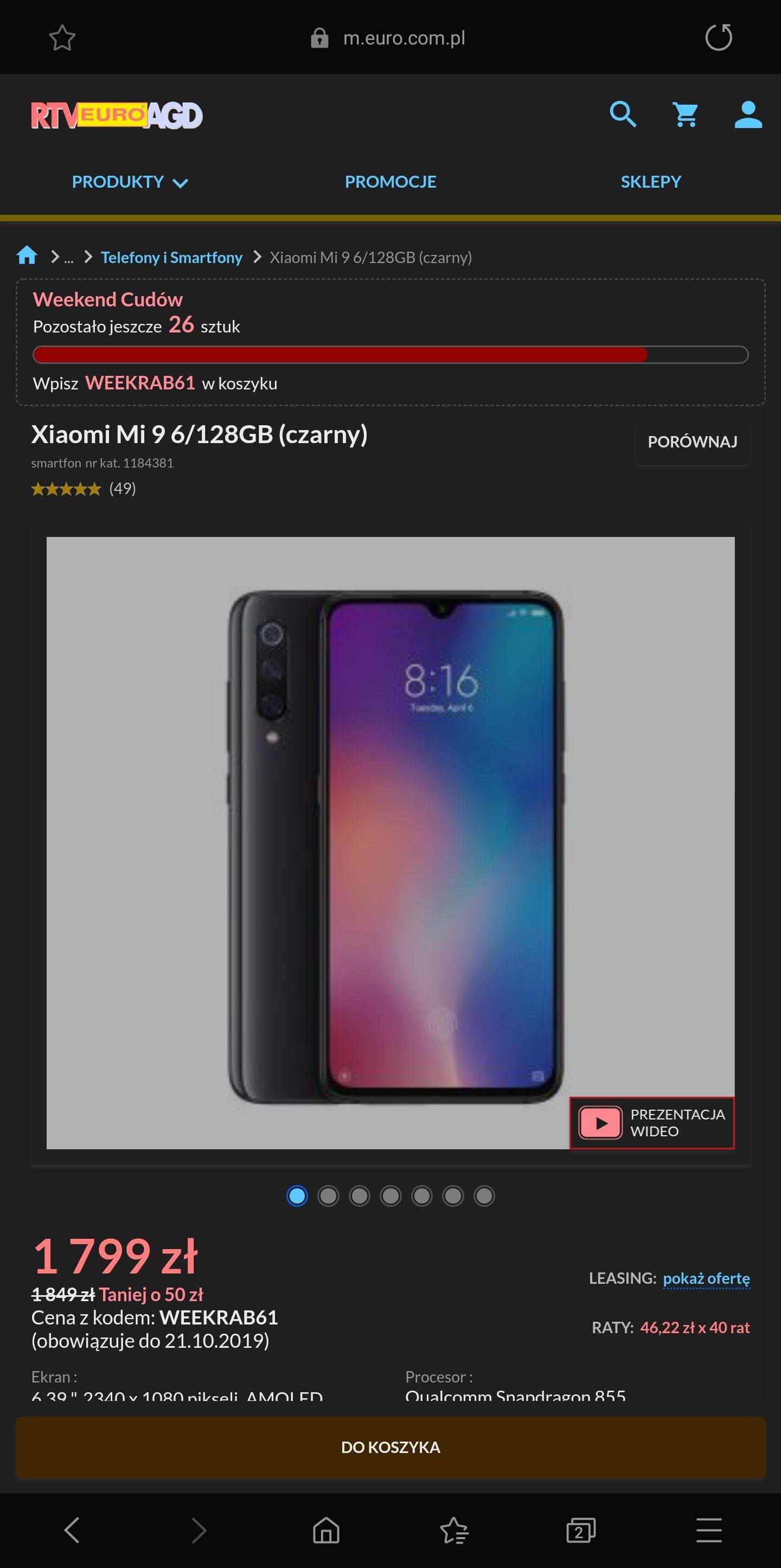 Xiaomi Mi 9 6/128GB (czarny) w sklepie fizycznym