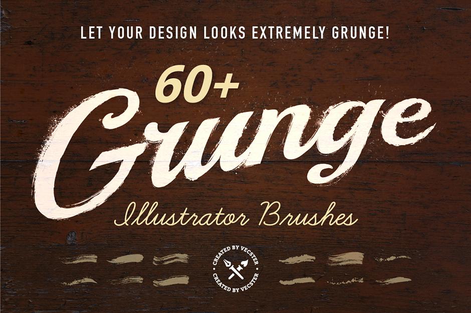 Darmowa paczka od DesignCuts z okazji Freebie Friday (60 Grunge Illustrator Brushes)