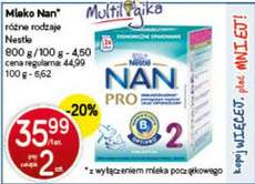 Mleko Nestle NAN Pro 800g za 35,99zł (przy zakupie 2 sztuk) @ POLO Market