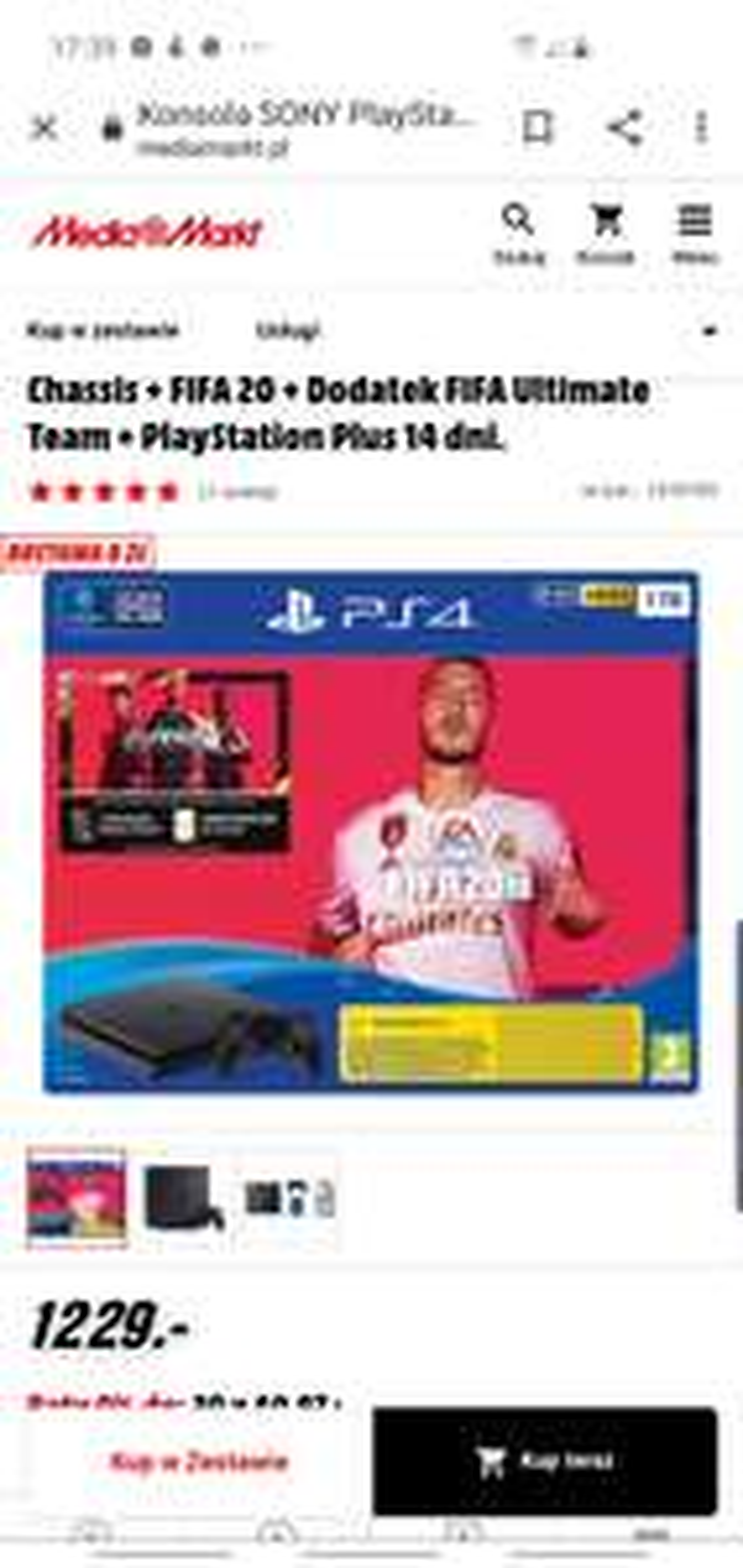 Konsola SONY PlayStation 4 Slim 1TB F Chassis + FIFA 20 + Dodatek FIFA Ultimate Team + PlayStation Plus 14 dni.