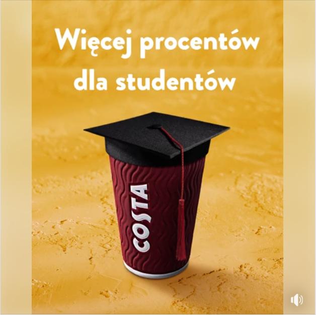 Costa Coffee - Więcej procentów dla studentów (m.in. dowolna kawa -30%)