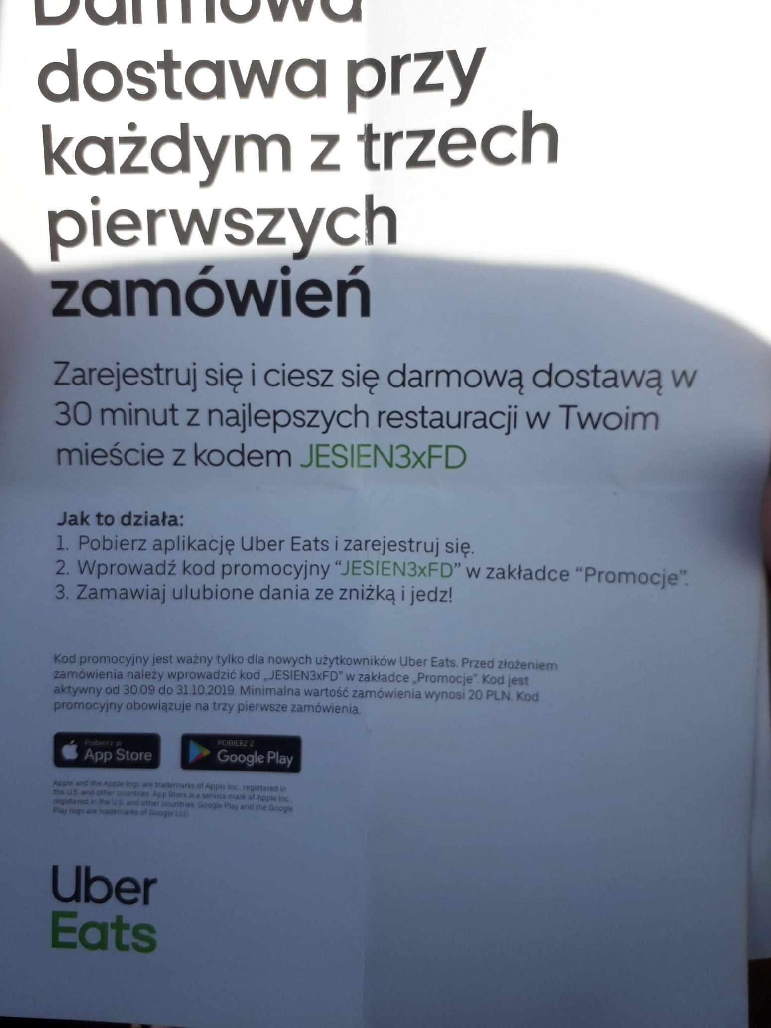 Kod rabatowy - Darmowa dostawa dla nowych użytkowników przy każdym z trzech zamówień - UBEREATS