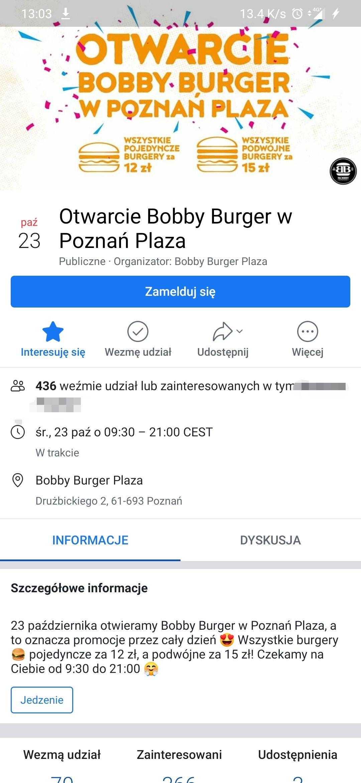 Otwarcie Bobby's Burger Poznań Plaza