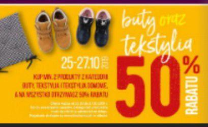 50% Rabatu na buty , tekstylia,i tekstylia domowe 25-27.10 @Biedronka