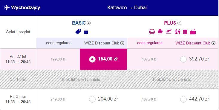 Loty z Katowic do DUBAJU od 154zł @ WizzAir