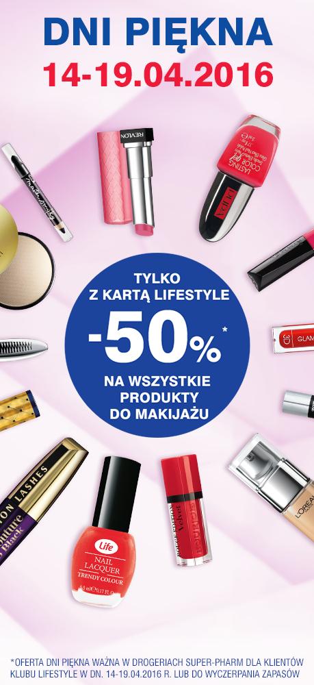 50% rabatu na WSZYSTKIE kosmetyki do makijażu! (14-19.04) @ Super-Pharm