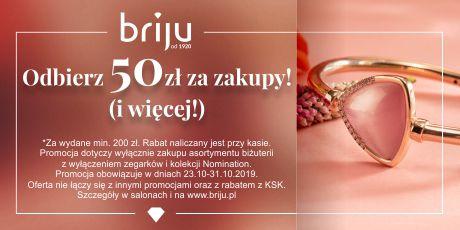 Rabat 50 złotych za każde wydane 200 w Briju i na stronie.