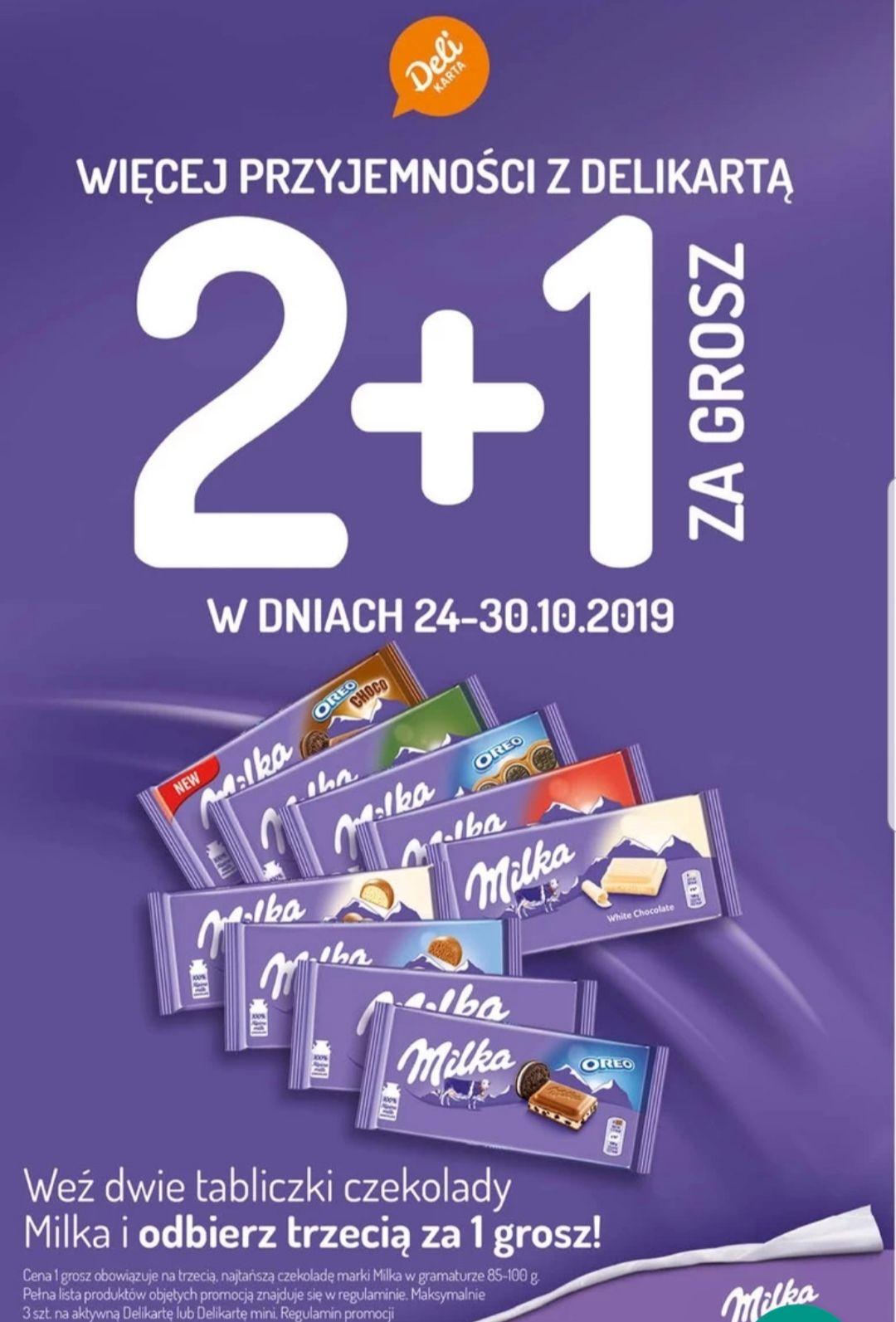 2+1 za grosz na czekolady Milka - Delikatesy Centrum