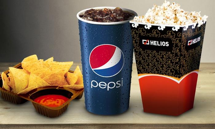 Napój + popcorn lub nachosy za 12,90zł (zamiast 22,90zł) w kinach Helios @ Groupon