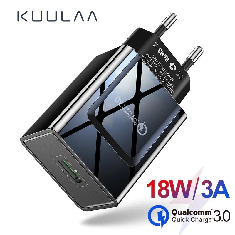 KUULAA szybkie ładowanie 3.0 telefon komórkowy ładowarka USB ładowarka z wtyczką EU 18W QC 3.0 szybka ładowarka