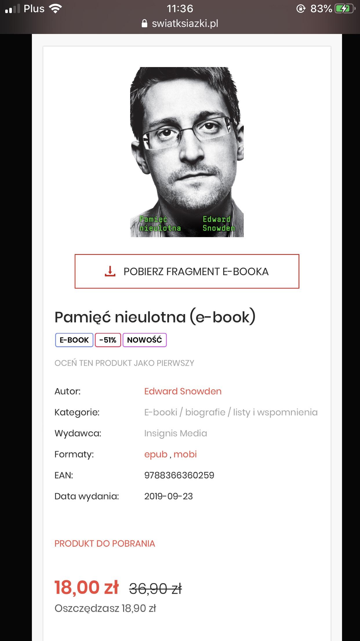 "E-Book Edward Snowden ""Pamięć nieulotna"""